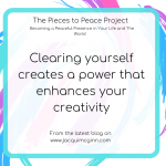 "Text reads ""clearing yourself creates a power that enhances creativity"" with creative pink, turquoise and purple paint splodges as a background."