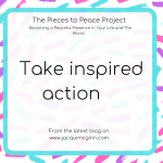 "Text reads ""take inspired action"" with creative pink, turquoise and purple paint splodges as a background."